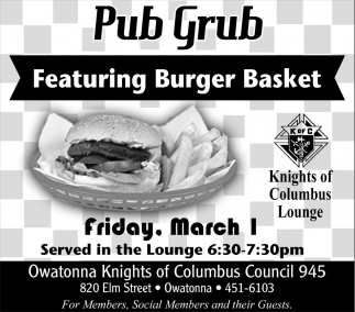 Pub Grub - Featuring Burger Basket