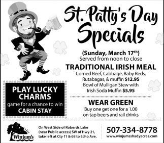 St. Patty's Day specials