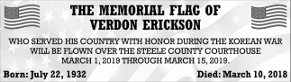 Memorial Flag of Verdon Erickson