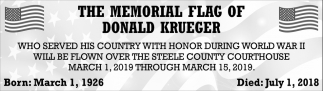 Memorial Flag of Donald Krueger