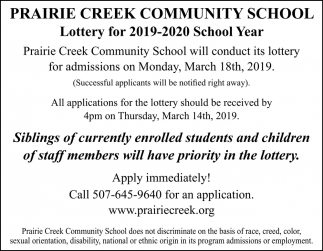 Lottery for 2019-2020 School Year