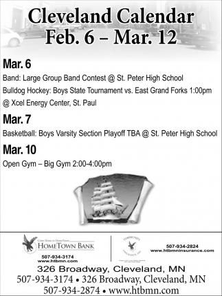 Cleveland Calendar Feb. 6 - Mar. 12