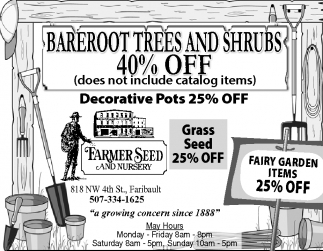 BAREROOT TRESS AND SHRUBS 40% OFF