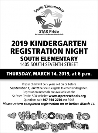 2019 Kindergarten Registration Night, Saint Peter Public School, Saint Peter, MN