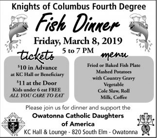 Fish Dinner - March 8