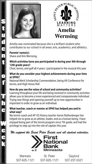 Amelia Wernsing - Student of the Week