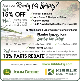 12 Months Parts & Labor Warranty on Planter Parts!, Kibble Equipment - Owatonna, Owatonna, MN