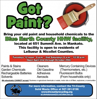 Bring your old paint and household chemicals to the Blue Earth County HHW facility
