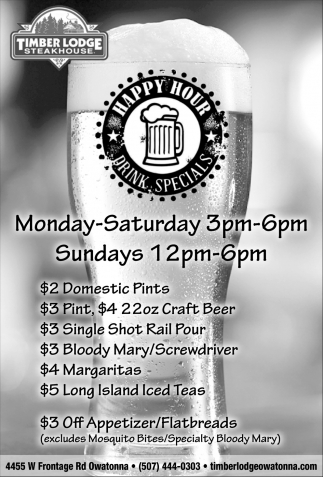 Happy Hour - Drink Specials