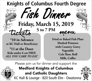 Fish Dinner - March 15