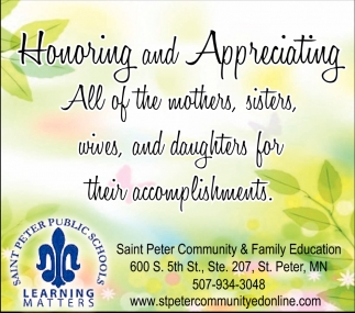 Honoring and Appreciating, Saint Peter Public School, Saint Peter, MN