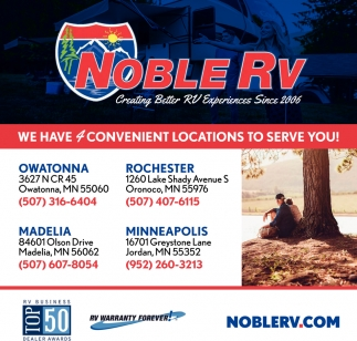 We have 4 convenient locations to serve you, Noble RV, Owatonna, MN