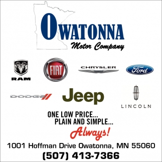 One low price... Plain and simple, Owatonna Motor Company, Owatonna, MN