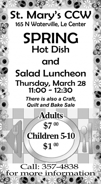 Spring Hot Dish and Salad Luncheon