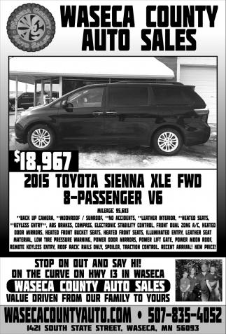 $18,967 2015 Toyota Sienna XLE FWD 8-Passenger V6