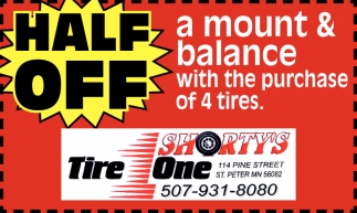Half Off a mount & balance with the purchase of 4 tires