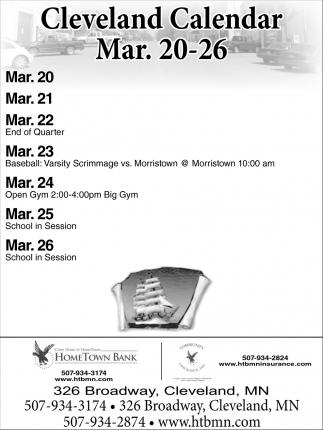 Cleveland Calendar Mar. 20 - 26