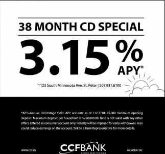 38 Month CD Special 3.15% APY*