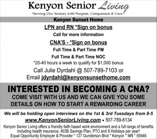 Licensed Pactical Nurse -  Registred Nurse, Kenyon Senior Living, Kenyon, MN