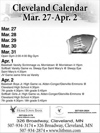 Cleveland Calendar Mar. 27 - April 2