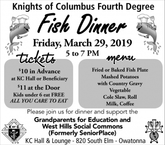 Fish Dinner - March 22