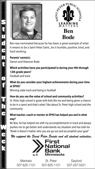 Ben Bode - Student of theWeek