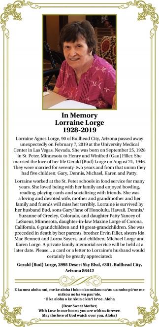 In Memory Lorraine Lorge