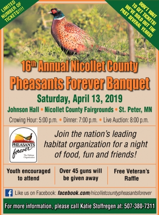 Nicollet County Pheasants Forever, 16th Annual Nicollet County Pheasants Forever Banquet
