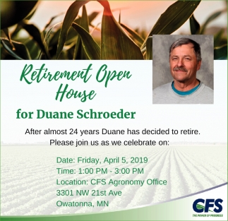 Retirement Open House for Duane Schroeder