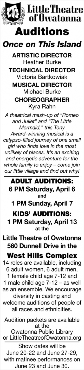 Auditions - Once on This Island