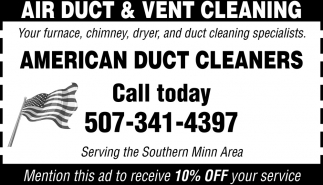 Your furnace, chimmey, dryer, and duct cleaning specialists
