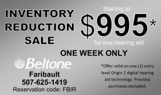 Inventory Reduction Sale Starting $995*