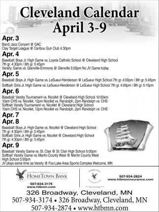 Cleveland Calendar April 3 - 9