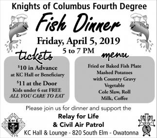 Fish Dinner - April 5