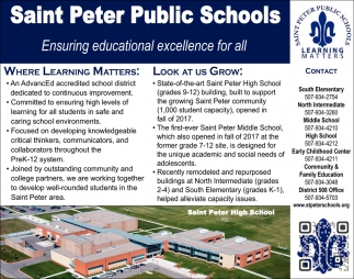 Ensuring educational excellence for all, Saint Peter Public School, Saint Peter, MN