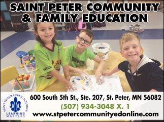 Classes for caregivers and children from birth through age 5 years, Saint Peter Community & Family Education