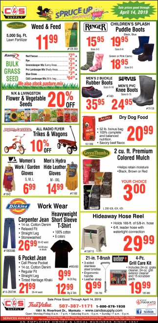 Sale prices good through April 14
