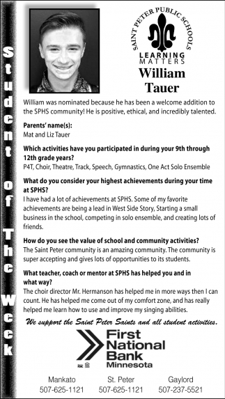 William Tauer - Student of the Week
