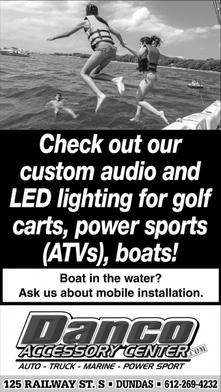 Check out our custom audio and LED lihgting for golf carts, powers sports ATV's, boats
