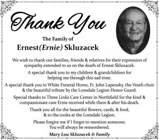 The Family of Ernest Ernie Skluzacek