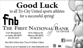 Good Luck to all Tri - City United sports athletes for a successful spring!