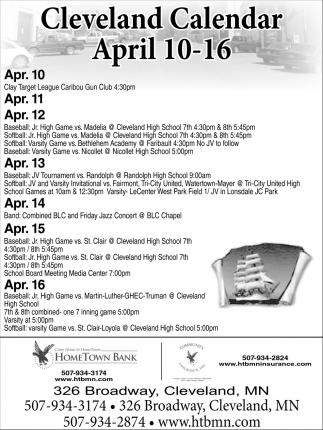 Cleveland Calendar April 10 - 16