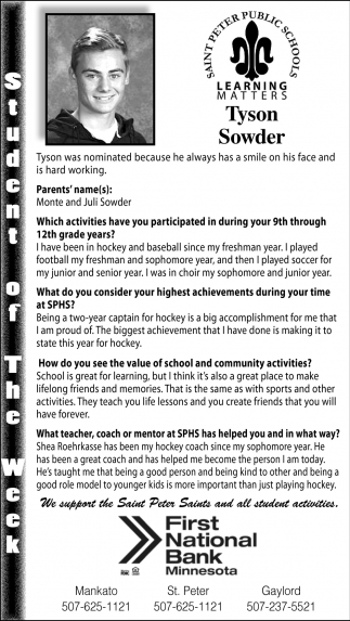 Tyson Sowder, Student of the Week