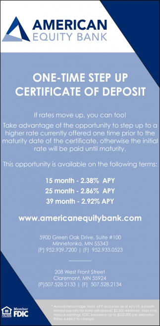 One - Time Step Up Certificate of Deposit