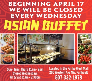 Beginning April 17 we will be closed every wednesday