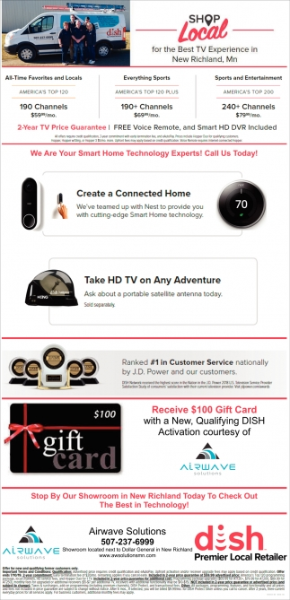 Receive $100 Gift Card with a New, Qualifying DISH Activation