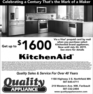 Quality Sales & Service For Over 40 Years, Quality Appliance, Faribault, MN