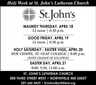 Holy Week at St. John's Lutheran Church