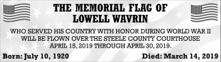 Memorial Flag of Lowell Wavrin
