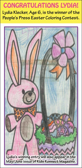 Lydia Klecker, Age 6, is the winner of the People's Press Easter Coloring Contest